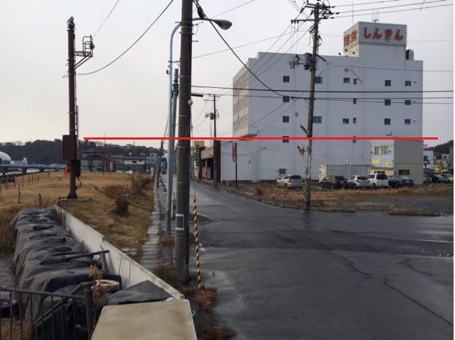 北上川・赤い線が津波高さ